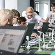 Teenagers from Nemenčinė in Lithuania coding with UKE
