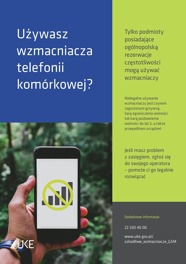Plakat informujący o nielegalnym używaniu wzmacniaczy GSM